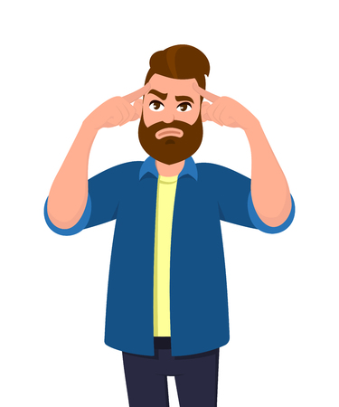 Young man touching his temples and remembering something. Man holding finger on head and feeling tired exhausted, chronic work stress, tries to remember important information. Concept illustration.