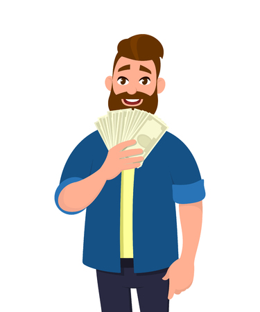 Happy young man holding cash/money/banknotes. Financial money concept. Vector illustration in cartoon style.