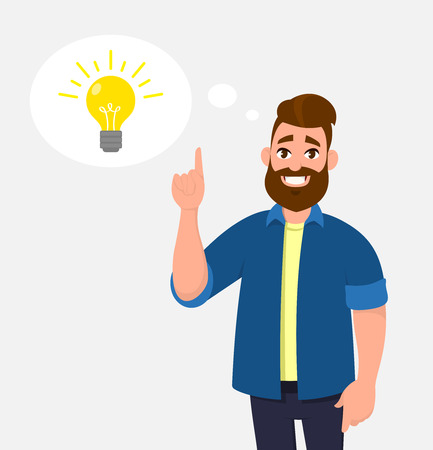 Joyful young man pointing up index finger. In the thought bubble bulb is brightening. Idea, innovation, imagination, creativity concept illustration in vector cartoon style.