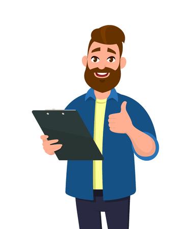 Hombre sosteniendo un portapapeles y mostrando los pulgares hacia arriba o como signo. Ilustración de vector de estilo de dibujos animados.