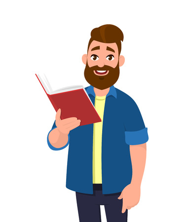 Young man holdingreading a book and smiling. Vector illustration in cartoon style.