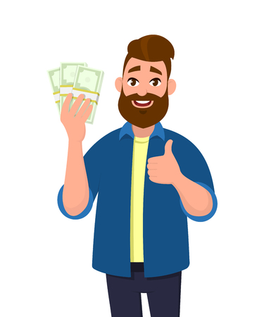 Young man holding  bundles of cash, money or currency notes in hand and showing thumbs up or like sign. Successful business and finance concept illustration in cartoon style. Vectores