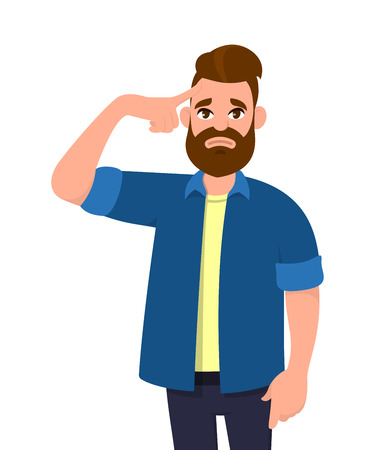 Young man touching his head with fingers in both hands looks tired with a headache . Man feeling bad suffering. Emotion and body language concept in cartoon style vector.