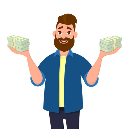 Young man holding bundles of cash, money or currency notes in hands. Successful business and finance concept illustration in cartoon style.