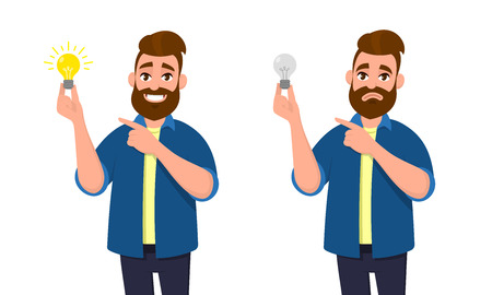 Happy man holding bright bulb and pointing index finger to it. Unhappy man holding dull bulb and pointing to it. Idea, invention, innovation concept illustration in vector cartoon style.