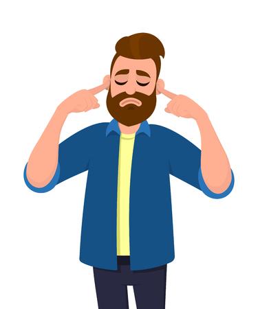 Uomo che copre le orecchie con le dita con espressione infastidita per il rumore di suoni forti o musica mentre gli occhi chiusi sono isolati in piedi su sfondo bianco. Illustrazione di concetto nello stile del fumetto di vettore.