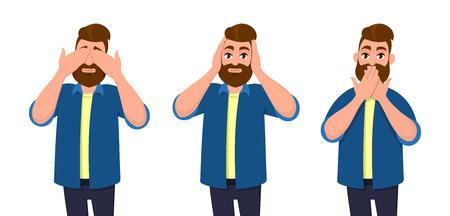 Man die ogen, oren en mond bedekt met handen alsof hij eruitziet als de drie wijze apen. Zie, hoor en spreek geen conceptillustratie in vectorbeeldverhaalstijl niet. Vector Illustratie
