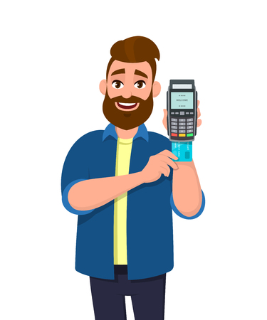 Man inserting credit or debit card into POS terminal payment machine. Man holding payment card swipe machine in hand. Payment, purchase, sale, shopping concept illustration in vector cartoon style.