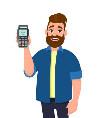 Mężczyzna pokazujący/trzymający kartę kredytową/debetową i terminal POS. Człowiek posiadający w ręku maszynę do przesuwania kart. Płatności, zakup, sprzedaż, zakupy ilustracja koncepcja w stylu cartoon wektor.