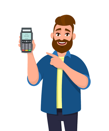 Man showing / holding credit / debit card and POS terminal payment card swipe machine and pointing hand. Payment, purchase, sale, shopping concept illustration in vector cartoon style. Ilustração Vetorial