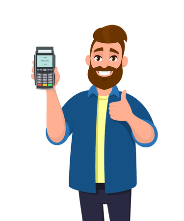 Happy man showing / holding credit / debit card and POS terminal payment card swipe machine and gesturing thumbs up sign. Payment, purchase, sale concept illustration in vector cartoon style.