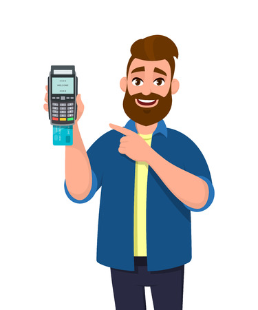 Mężczyzna pokazujący / trzymający kartę kredytową / debetową włożoną do terminala POS maszyna do przesuwania kart płatniczych i wskazująca dłoń. Płatności, zakup, sprzedaż, zakupy ilustracja koncepcja w stylu cartoon wektor.