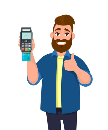 Happy man showing / holding credit / debit card inserted POS terminal payment card swipe machine and gesturing thumbs up sign. Payment, purchase, sale concept illustration in vector cartoon style. Ilustração Vetorial