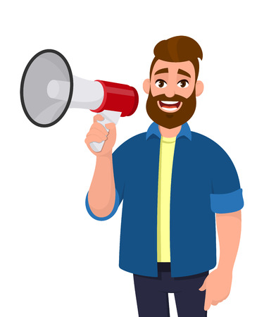 Man holding a megaphone/loudspeaker, shouting and announcing something. Man wearing casual, standing isolated in white background. Megaphone concept illustration in vector cartoon style.