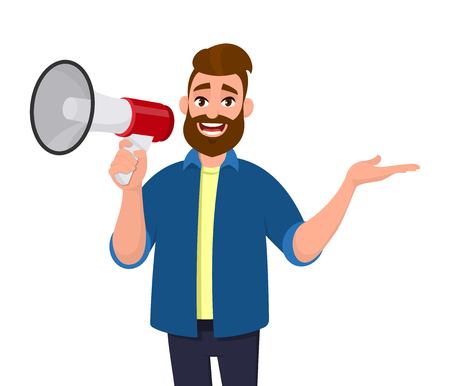 Man holding a megaphoneloudspeaker, shouting, announcing something and showing hand gesture sideways away to copy space. Man standing isolated. Megaphone concept illustration in vector cartoon style.