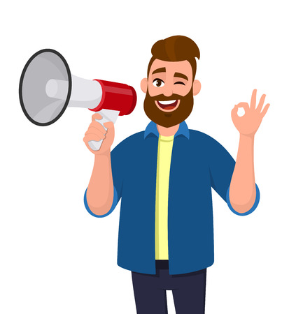 Man holding a megaphoneloudspeaker, winking eye and showinggesturing OKokay sign. Megaphone concept illustration in vector cartoon style. Illustration