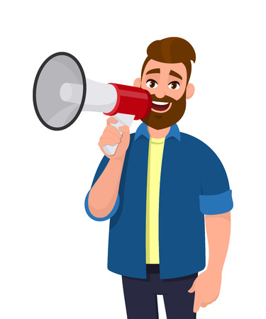 Man holding a megaphoneloudspeaker near to his mouth, shouting, announcing something. Man standing isolated in white background. Megaphone concept illustration in vector cartoon style.