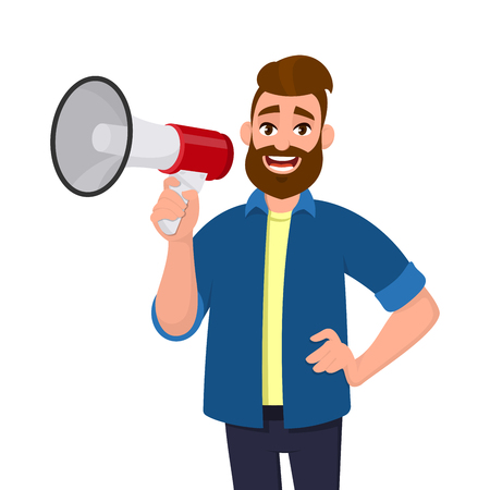 Man holding a megaphone/loudspeaker, shouting and announcing something while holding hand on hip. Megaphone concept illustration in vector cartoon style.