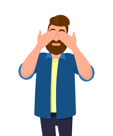 Man coveringclosing his eyes with hands and making a dont see gesture. Man does not want to see. Concept illustration in vector cartoon flat style.