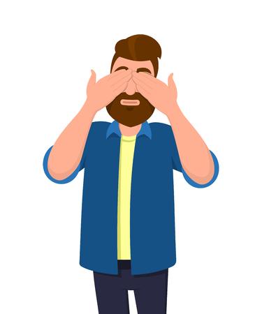 """Mann, der seine Augen mit den Händen bedeckt/schließt und eine Geste """"nicht sehen"""" macht. Mann will nicht sehen. Konzeptillustration im flachen Stil der Vektorkarikatur."""
