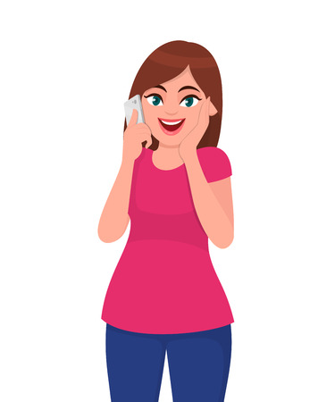 Smiling beautiful young woman talking on smart phone and holding hand on face excited expression. Modern lifestyle and communication concept illustration in vector cartoon flat style.