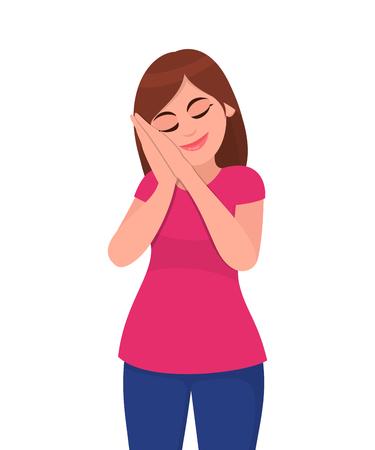 Jeune femme debout et endormie en train de rêver les yeux fermés. Femmes faisant semblant de dormir et faisant des gestes. Femme fatiguée endormie s'endormir étant épuisée. Illustration de concept dans le vecteur.
