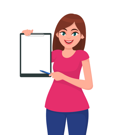 Happy smiling beautiful young woman holding / showing a blank clipboard and pointing towards, while standing against white background. Human gesture concept illustration in vector cartoon flat style.