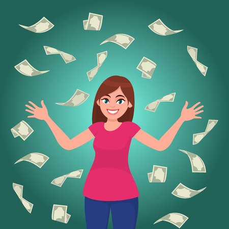 Cash / money / bank notes /currency bills falling around successful happy young business woman. Business and finance concept illustration in vector cartoon flat style. Illustration