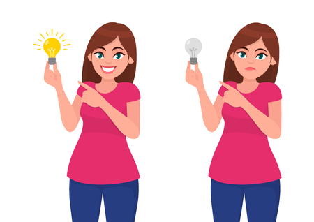 Happy woman/girl holding bright bulb and pointing index finger. Unhappy woman/girl  holding dull bulb and pointing to it. Idea, invention, innovation concept illustration in vector cartoon style. Иллюстрация