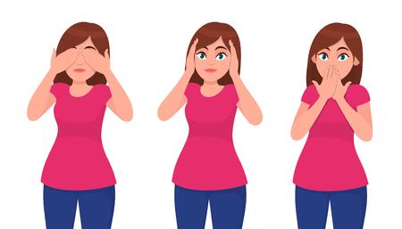 Ensemble de jeune femme fermant/couvrant ses yeux, ses oreilles et sa bouche comme les trois singes de la sagesse. Ne pas voir, entendre et parler de concept. Illustration de concept d'émotion humaine et de langage corporel en dessin animé vectoriel. Vecteurs
