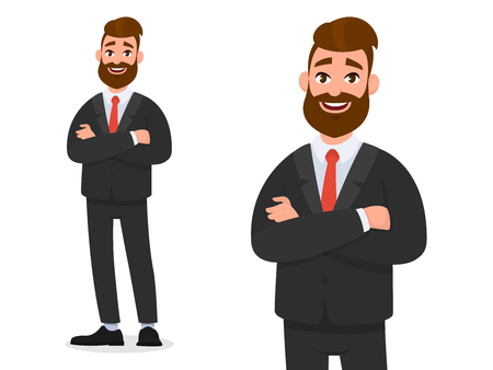 Smiling confident businessman in black formal wear with arms crossed isolated in white background portrait and full view. Emotion and body language concept in cartoon style vector illustration.