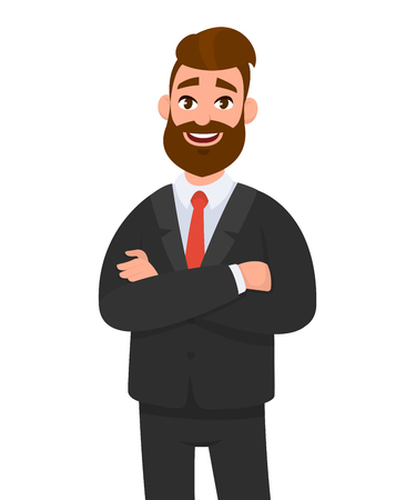 Portrait of smiling confident businessman in black formal wear with arms crossed isolated in white background. Emotion and body language concept in cartoon style vector illustration. Vetores