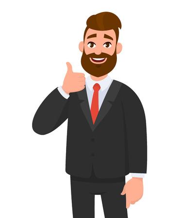 Il ritratto dell'uomo eccitato di affari si è vestito in abbigliamento convenzionale nero che mostra i pollici sul segno. Affare, come, d'accordo, approvare, accettare il concetto di illustrazione in stile vettoriale cartone animato.