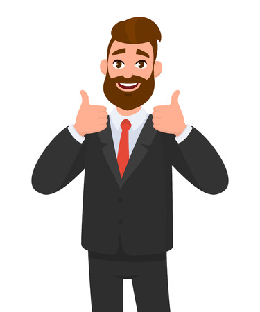 Il ritratto dell'uomo eccitato di affari si è vestito in abbigliamento convenzionale nero che mostra i pollici sul segno. Affare, come, d'accordo, approvare, accettare il concetto di illustrazione in stile vettoriale cartone animato. Vettoriali