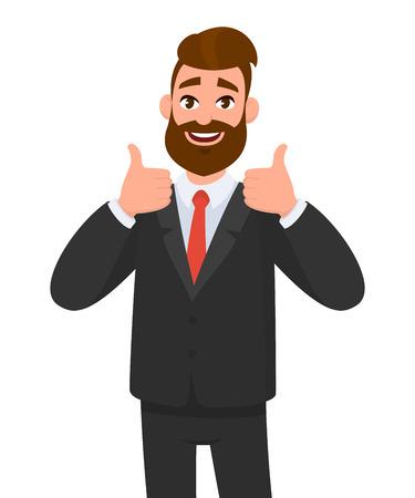 Retrato de hombre de negocios emocionado vestido con ropa formal negra mostrando los pulgares para arriba signo. Tratar, aceptar, aprobar, aceptar el concepto de ilustración en estilo vectorial de dibujos animados. Ilustración de vector