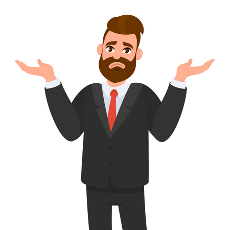 Oops. Sorry. I don't know. Young business man shrugs, shows helpless gesture and spread his hands, he does not know what to do. Illustration