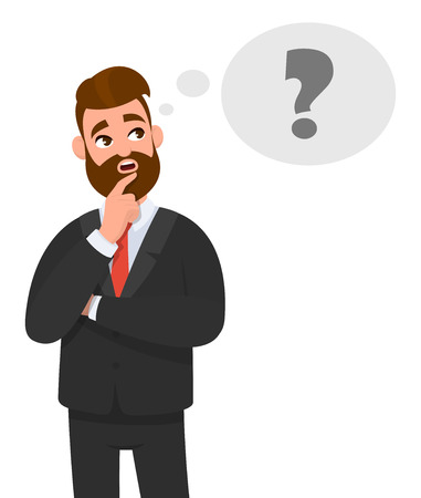 Thoughtful young business man thinking. Question mark icon in thought bubble. Emotion and body language concept in cartoon style vector illustration.