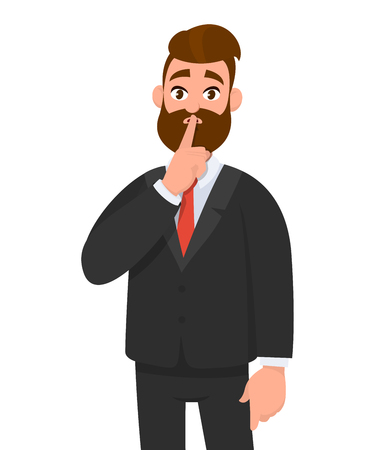 Business man asking silence please. Keep quiet. Man closed  his mouth with finger. Shut up! Emotion and body language concept in cartoon style vector illustration. Illustration