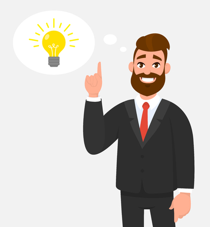 Thoughtful happy businessman pointing up to the bright bulb in the thought bubble. Idea, innovation, invention, problem solving, solution concept illustration in cartoon vector style.
