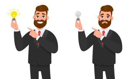 Happy businessman holding bright bulb and pointing to it. Unhappy businessman holding bulb and pointing and standing against isolated white background.  Innovation and idea concept illustration.