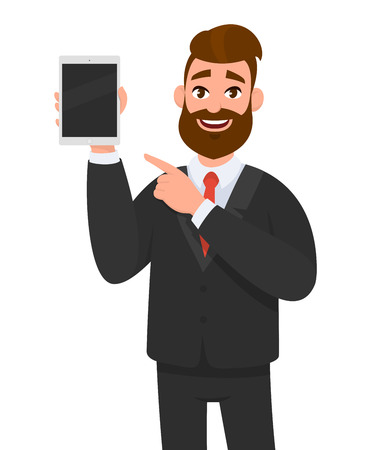 Happy confident business man showing a blank screen tablet computer and pointing towards it. Business man standing isolated in white background holding empty screen tablet PC. Vector illustration.