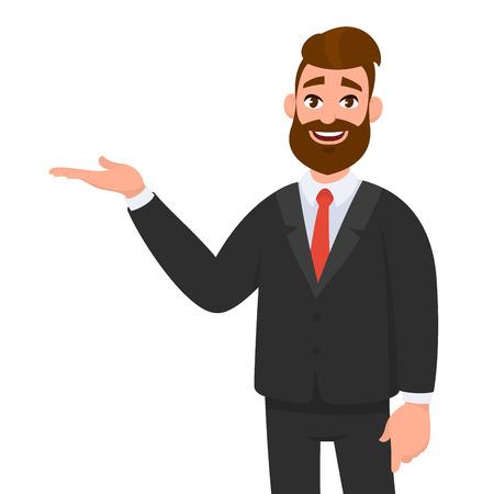 Uomo d'affari felice che mostra lo spazio della copia del gesto della mano per presentare o introdurre qualcosa. Presentazione, pubblicità, introduzione dell'illustrazione del concetto in stile cartone animato vettoriale.