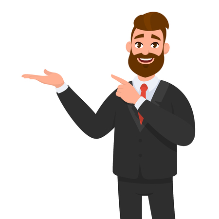 Happy businessman showing hand gesture copy space to present or introduce something and pointing index finger. Presentation, advertisement, introduce concept illustration in vector cartoon style.