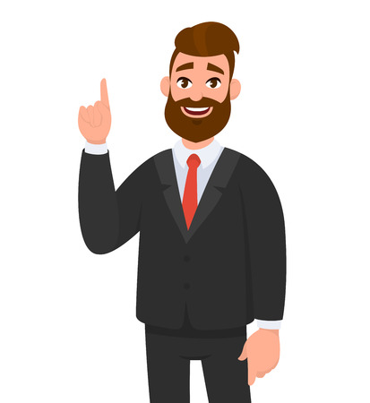 Happy businessman pointing up index finger gesture to copy space. Businessman emotion and body language concept illustration in vector cartoon style. Vettoriali