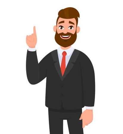 Uomo d'affari felice che indica il gesto del dito indice per copiare lo spazio. Illustrazione di concetto di emozione e linguaggio del corpo dell'uomo d'affari nello stile del fumetto di vettore. Vettoriali