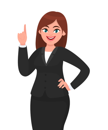 Happy business woman pointing index finger up. Woman raising / lifting hand to upward. Businesswoman concept illustration in vector cartoon style.