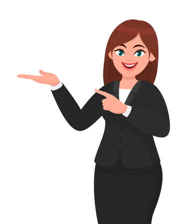 Happy business woman showing hand to copy space away. Business woman presenting or introducing something. Advertisement or product presenting concept concept illustration in vector cartoon style.