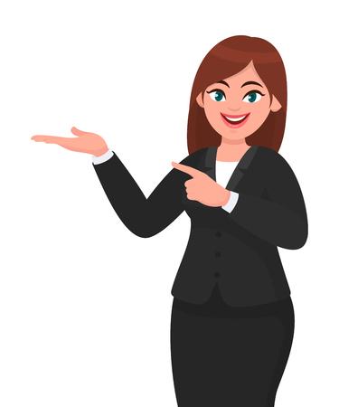Mujer de negocios feliz mostrando la mano para copiar el espacio. Mujer de negocios presentando o introduciendo algo. Anuncio o producto que presenta la ilustración del concepto de concepto en estilo de dibujos animados de vector.
