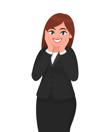Happy and surprised, exited businesswoman shouts holding cheeks by hand. Human emotion and body language concept illustration in vector cartoon style.