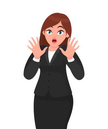 Shocked and stunned businesswoman raising palms to protect herself. Human emotion and body language concept illustration in vector cartoon style.